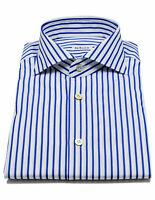 Kiton Shirt IN Blue Striped With Shark Collar Reg