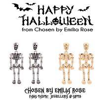 Silver Gold Skeleton Body Stud Drop Earrings Halloween Scary Spooky Jewelry