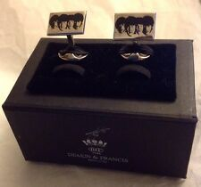 DEAKIN & FRANCES Limited Edition Rectangle Beatles Sterling Silver Cufflinks NIB