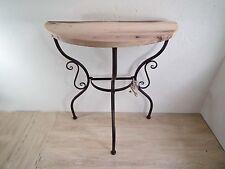 Konsole Konsolentisch Beistelltisch – Holz alte Ulme - Metall dunkelrostfarben
