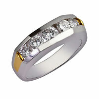 0.60Ct Real Diamond Men's Engagement Ring Solid 14K White Gold Bands Size 9 10