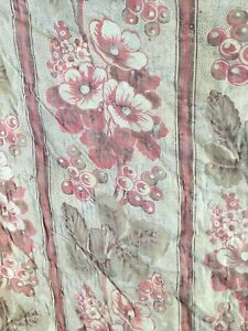 Pretty Antique French Indienne Print Handmade Boutis Quilt c1870 for Renovation