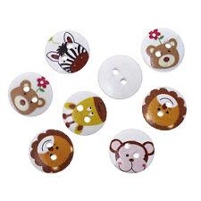 20 Holzknöpfe Mix, Tier Muster, 2 Löcher, 15mm zum Basteln Kinderknöpfe buttons