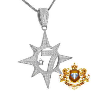 14k White Gold On Silver Five Percenter Simulated Diamond Pendent Charm + Chain