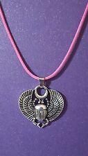 SCARAB BEETLE Kheper Egyptian SUN MOON Pink Cord Necklace 18 Inch Pendant