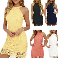 Women's Sheath Dress Halter Floral Lace Crochet Above Knee Bodycon Dress