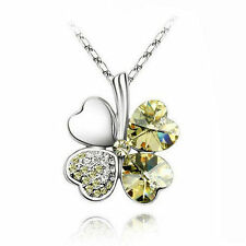 Chic Silver Plated Clovers Yellow Rhinestone Crystal Chain Bib Pendants Necklace