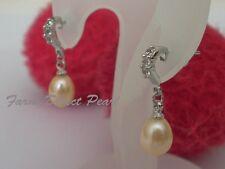 Genuine Peach Pearl CZ Half Hoop Dangle Drop Stud Earrings Cultured Freshwater