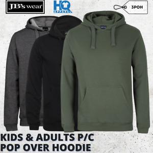 JB'S WEAR MENS ADULTS P/C POP OVER HOODIE JACKET SWEAT KANGAROO POCKETS NEW 3POH
