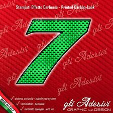 Adesivo Stickers NUMERO 7 moto auto cross gara Carbon Effect Green 10 cm