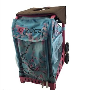 ZUCA Rolling Sports Cart Carry Bag, Hanami Bag Pink Frame Cherry Blossoms