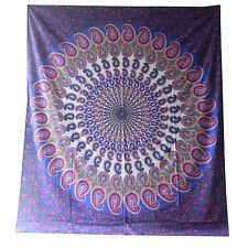 Couverture indienne Tenture Paisley Mandala violet rose 230x210cm