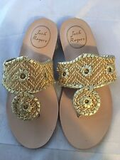 NEW Jack Rogers Inez Whipstitched Flip Flop, Woven Gold, Women Size 5 $148