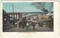 Levee & Eads Bridge St. Louis Missouri Postcard by Frey