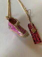 Betsey Johnson Rhinestone Purple Enamel Gym Shoes Necklace-BJ50025
