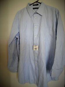 Kenneth Roberts Platinum Mens  80 2 ply Cotton Dress Shirt  Sz 18 34/35  NWT