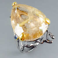 AAA 26x20 35ct Natural Rutilated Quartz 925 Sterling Silver Ring Size 8/R114025