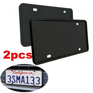 2pcs Front & Rear Silicone License Plate Holder Mounting Bracket For Car SUV
