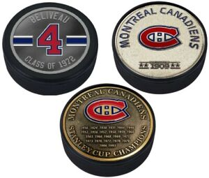 Jean Beliveau Montreal Canadiens 3D Textured Medallion Hockey Puck Collection