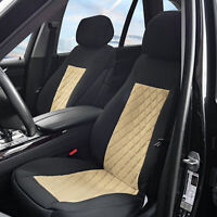 Neosupreme Front Bucket Seat Covers Pair For Auto Car SUV Beige Black