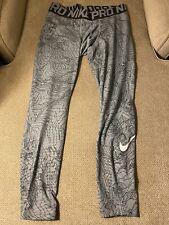 Men's Nike Pro Gray White  Compression Running Tights 2XL