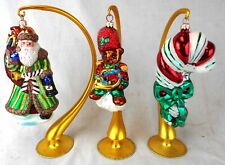 Lot of 3 Christopher Radko Glass Christmas Ornaments