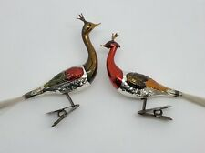 Antique German Hand-blown Mercury Glass 2 PEACOCK Christmas Ornaments (RF952)