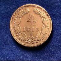 Österreich/Austria 4 Kreuzer Scheidemünze 1860 A