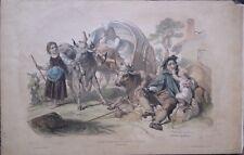 """Lithographie de Félon, """"Un jour de marché"""",  Basque , Béarn milieu du XIX siècle"""