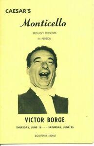 Victor Borge Comedy Concert Souvenir Program MENU 1960s Monticello MA