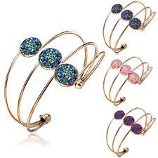 Women Adjustable Crystal Quartz Druzy Cuff Bracelet Open Bangle Jewelry Party
