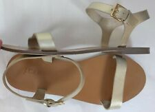 J. Crew Women's metallic gold leather Ankle strap flat Sandals size 8M