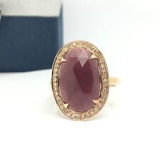14k Rose Gold Diamond And Opaque Ruby Oval Shape Ring