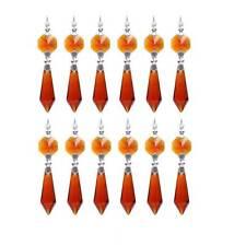 20pcs Amber Chandelier Glass Crystals Lamp Prisms Hanging Drops Pendants 38mm