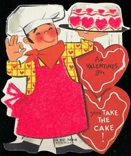 Vtg 40s 50s Valentines Card Heavy Pink Glitter Cake Bakery Chef Pastry Made Usa