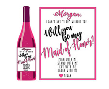 Set of 4 Will you be my Bridesmaid Maid of Honor Wine Labels Wedding Party Favor