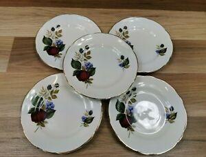 "5 x Vintage Royal Ascot Bone China Fruit/Berry Pattern 6.25"" Tea / Side Plates"