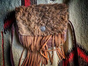 Buffalo Hide Fringe Medicine Bag Brown Bison & Cow Leather RRL Style Purse