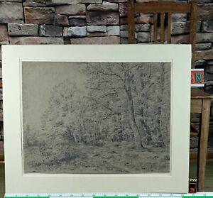 Zuschreibung Jakob Maurer 1826-1887 antike Zeichnung Landschaft Wald Bäume 1