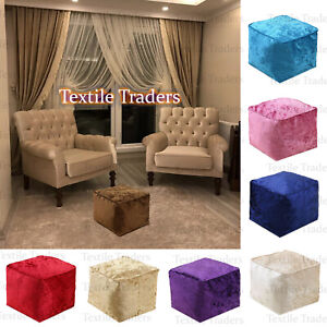 Crush Velvet Bean Bag Cube Footstools Foot Rest Stool Pouffe Ottoman 13 Colours