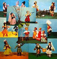 1967 Postcards Vintage Dolls National Costumes Photo postcards Lot 8 pcs