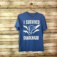 Sharknado Tee Shirt Medium M Blue T Short Sleeve -Used- I survived Sharknado Top