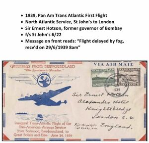 1939 Pan Am Newfoundland Flight Cover to Sir Ernest Hotson Bombay India Governor