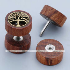 16GA Sono Wood Life Tree Fake Cheater Ear Expander Plug Studs Illusion Earrings