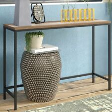 Industrial Console Table Hallway Furniture Rustic Wooden Top Black Metal Frame