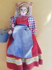 Italian Doll holding bucket Felt Dress Hand Painted Face Made in Italy Rosy