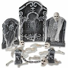 Halloween Graveyard Decoration Prop 8 Creepy Tombstones Skull Outdoor Yard Decor
