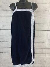 Tommy Hilfiger Terry Cloth Half Towel Wrap Blue Striped Trim Sleepwear Small Med