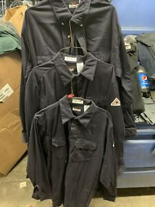 3 Bulwark Excel FR Flame Resistant New Long Sleeve Button Work Shirts Large NWOT
