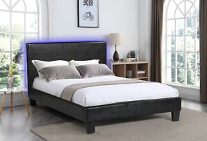 Black Upholstered QueenBed with LED Lights in Headboard for a nightlight effect